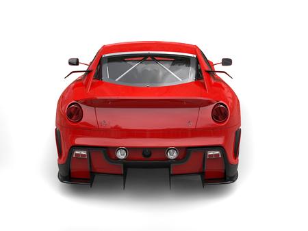 Brick red urban sports car - rear view