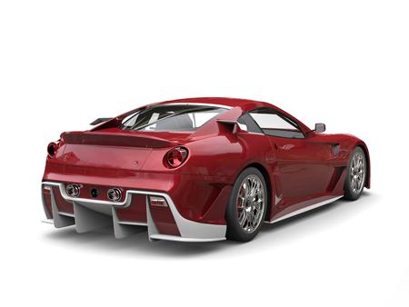 Metallic crimson modern sports car with white details