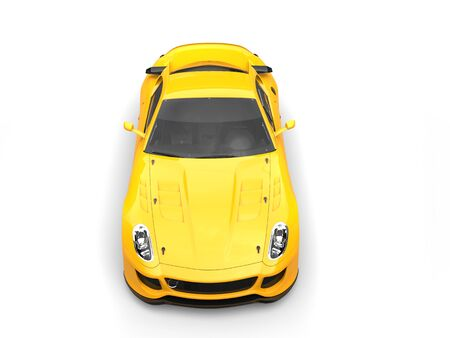 Sun yellow urban sports car - top front view