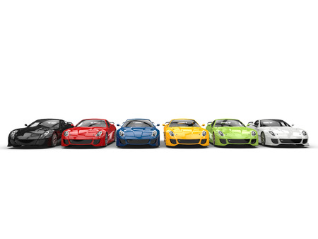 Awesome modern sports cars in various colors parked in a row Stock Photo