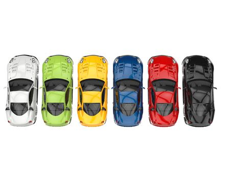 Row of great modern sports cars in various colors - topdown view Stock Photo
