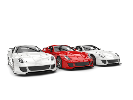 Sublime red sport car in the middle of two white cars - beauty shot