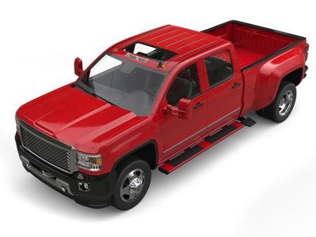 crimson: Crimson red modern pickup truck - top down studio shot