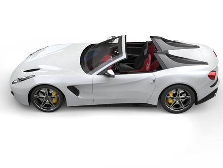 top down car: Smooth white cutting edge sports car - top down view