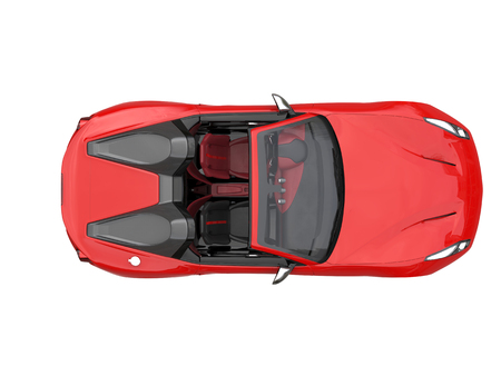 Fiery red fast race car - top down view Stock Photo