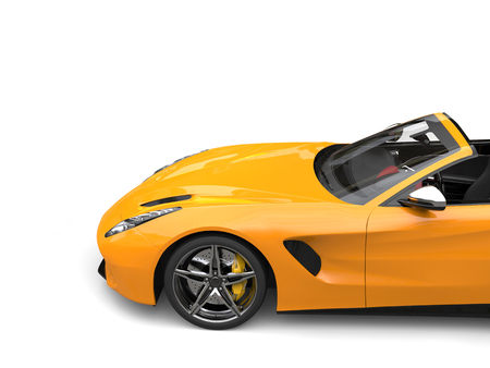 Fast yellow sports car - side view cut shot