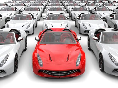 Fiery red sports car at front and center of many white sports cars