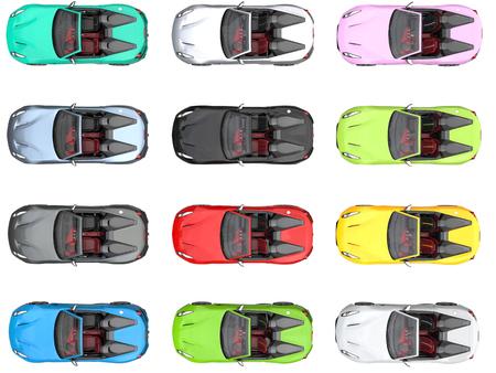 Moderne converteerbare kleurrijke sportauto's - bovenaanzicht Stockfoto