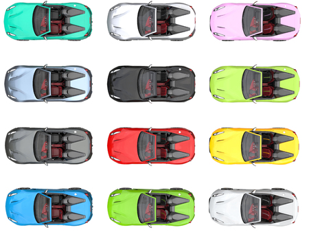 Moderne umwandelbare bunte Sportwagen - top down view Standard-Bild - 76313979