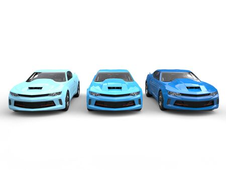 restored: Modern muscle cars in cool colors - front view