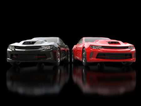 restored: Black and red modern muscle cars on black reflective background - front view