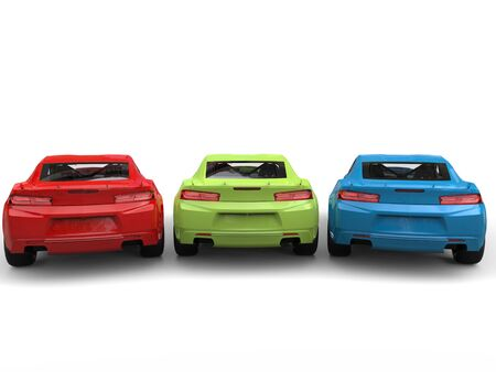 restored: Red, green, blue modern fast cars - back view Stock Photo