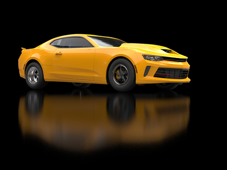 restored: Awesome sun yellow muscle car on black background Stock Photo
