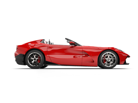 Bright red modern convertible super sports car - side view Stock Photo