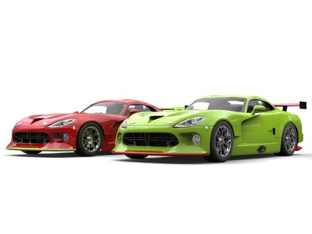 Raging red and crazy green super race cars side by side on start line