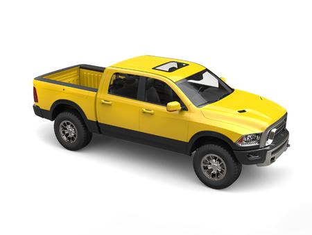 Construction yellow modern pick-up truck Stock Photo