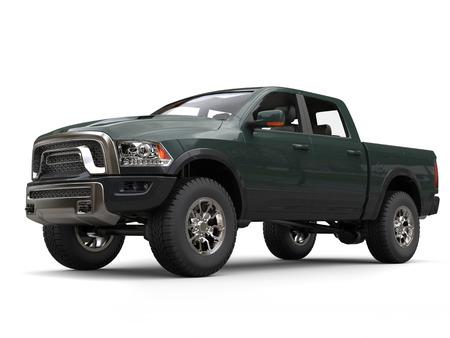 Dark jungle green powerful pick-up truck