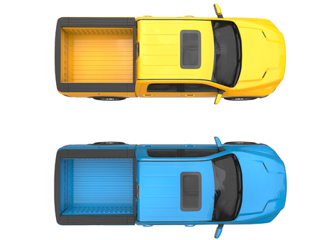 Blue and yellow modern pick-up trucks - top view