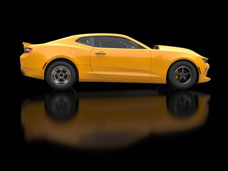 restored: Awesome sun yellow muscle car on black background - side view