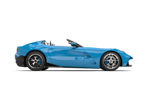 Sky blue modern convertible super sports car - side view