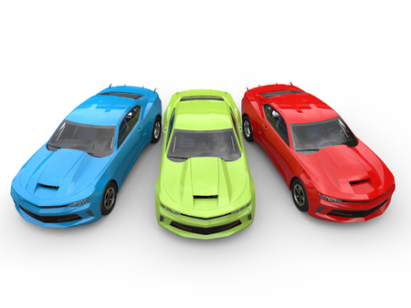 restored: Red, green, blue modern fast cars - top down view Stock Photo