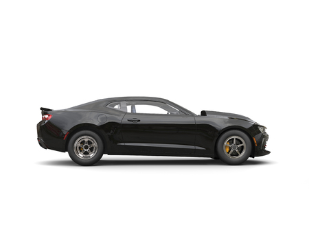 Shiny jet black modern muscle car - side view Stock Photo