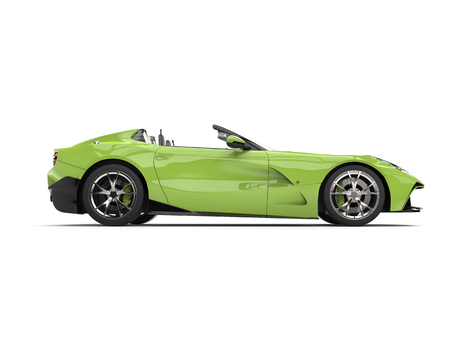 Crazy green modern convertible super sports car - side view Stock Photo