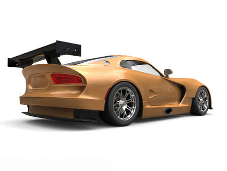 Gold flake painted modern supercar - back view Stock Photo