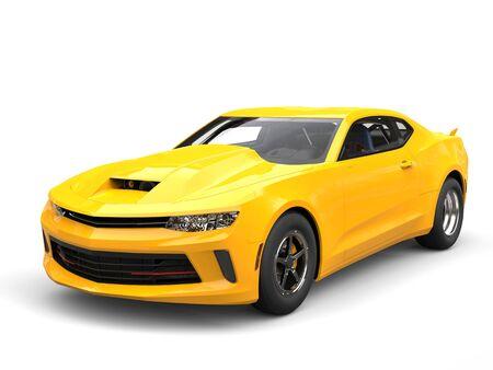 restored: Bright sun yellow modern muscle car - beauty shot