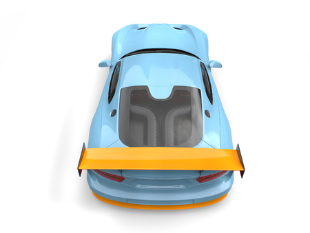 Light blue supercar with orange details - rear view