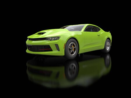 restored: Crazy green modern fast muscle car Stock Photo
