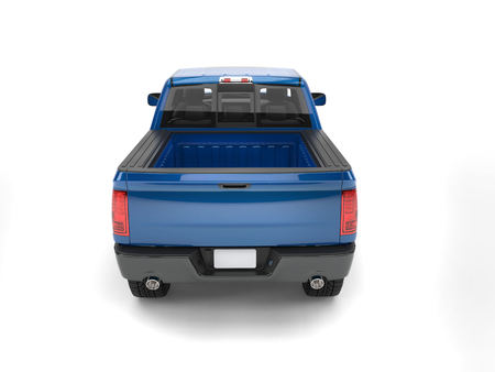 Dark blue modern pick up truck - back view Stock Photo
