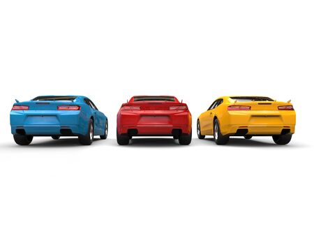 Red, blue and yellow modern fast cars - back view Stock Photo