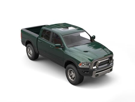 Dark forest green modern pick-up truck - top down view Stock Photo