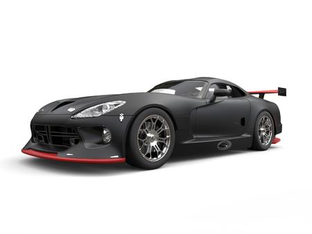 Matte black modern race supercar - beauty shot