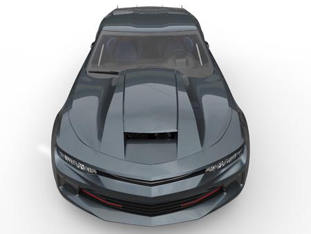 top down car: Slate gray modern muscle car - top down view Stock Photo