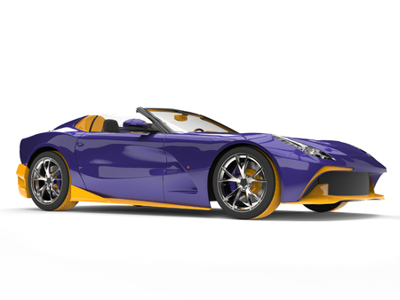 Awesome super sports car with crazy purple paint job with yellow details