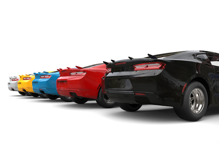restored: Modern fast muscle cars in various colors - back view Stock Photo