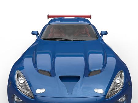 Royalblue modern supercar - headlights and hood closeup shot