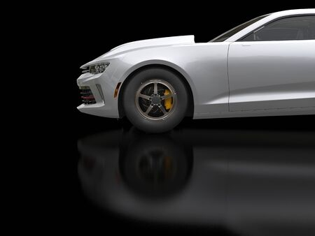 restored: Cool silver muscle car - cut shot