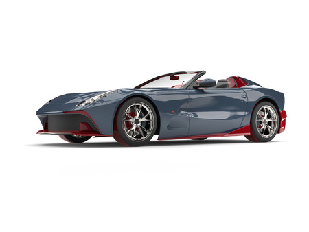 Luxury modern convertible super sports car - metallic gray with dark red details