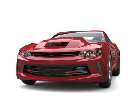 restored: Maroon modern muscle car - front closeup shot