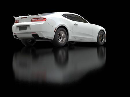 restored: White smoke modern fast car - back view shot