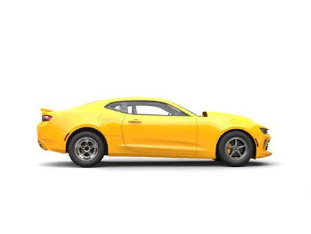 restored: Bright yellow modern muscle car - side view Stock Photo