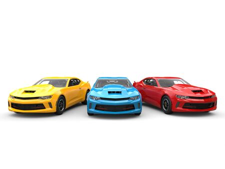 restored: Red, blue and yellow modern fast cars - beauty shot Stock Photo
