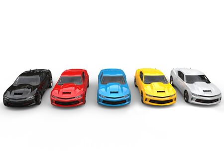 restored: Modern fast muscle cars in various colors - top down view Stock Photo