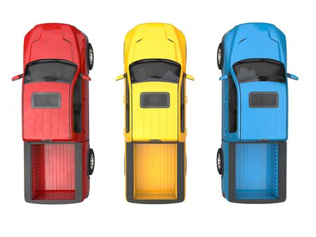 Red, blue and yellow modern pick-up trucks - top view