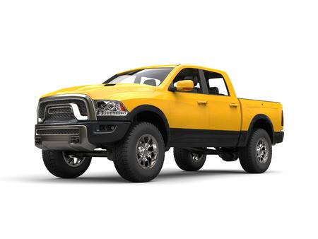 Construction yellow modern pick-up truck - beauty shot