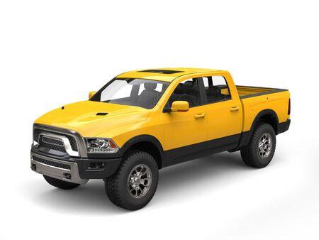 Construction yellow modern pick-up truck 版權商用圖片 - 77489250