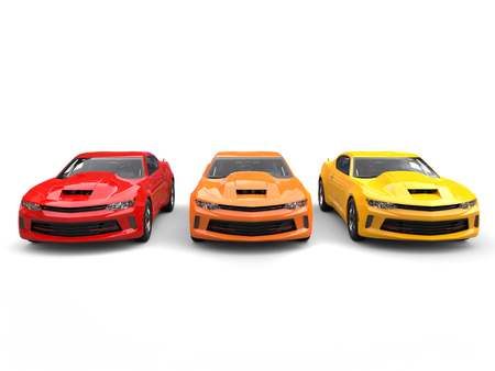 Modern muscle cars in warm colors - front view